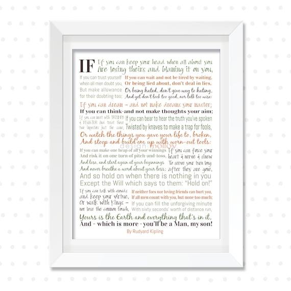 If Rudyard Kipling Rudyard Kipling Print Poetry For Son