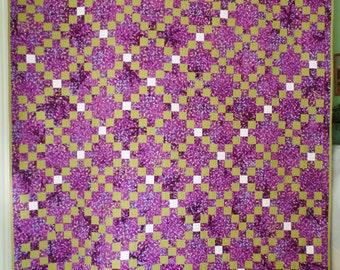 Batik Quilt, Purple Quilt, Handmade Quilt, Traditional Quilt, Modern Quilt, Queen Size Quilt, FREE SHIPPING!