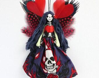 Day of the Dead fairy ornament, handmade Halloween peg doll decoration, holiday decor, keepsake