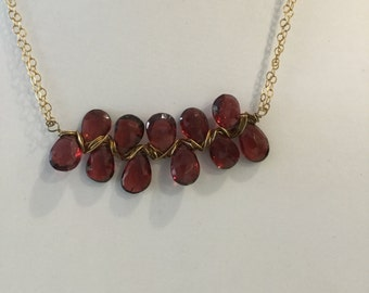 Garnet and Gold Filled Wire Wrapped Necklace