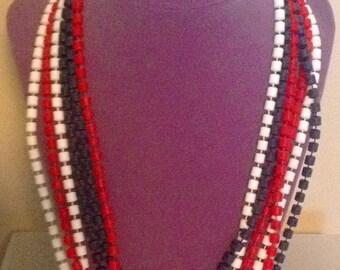 Vintage Red White Blue Beads