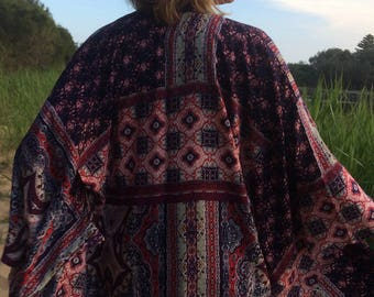 Traditionally inspired Japanese kimono jacket coat duster