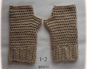 Crochet Childrens Fingerless Gloves 1-2 year old