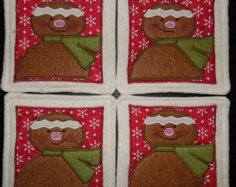 Primitive Whimsical Country Christmas Winter-time GINGERBREAD Coasters Mug Mats Hot Pads Trivets