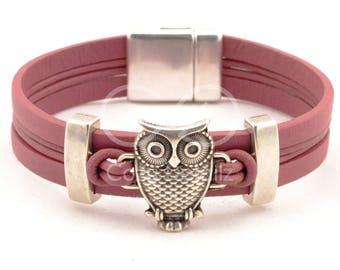 owl bracelet, owl jewelry, women leather bracelet, owl cuff bracelet, bird bracelet, gifts for teens, animal jewelry, silver zamak bracelet