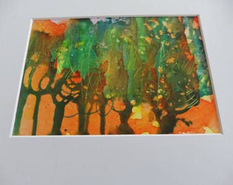Mystery Forest Original Ink painting 5X7
