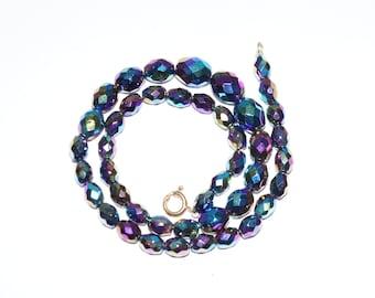 BEADED NECKLACE - Aurora Borealis Beaded Necklace - Vintage Aurora Borealis Beaded Necklace - Petrol colors  Bead Necklace