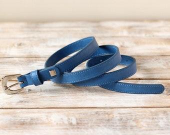 FREE SHIPPING | Blue belt, blue vegan belt, faux leather belt, vegan belt, eco leather belt, womens belt, blue waist belt, gift for her