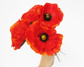 Orange poppy etsy poppies 10 orange poppy artificial flowers silk poppy 43 flower wedding anemones supplies faux fake anemone mightylinksfo