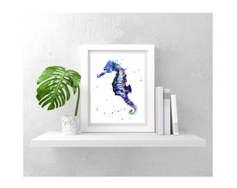 Watercolor Seahorse print, HAITIAN HELPERS FUND, Blue Seahorse Illustration