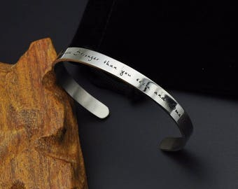 Stainless Steel ' You are Braver than you believe Stronger than you seem and Smarter than you think '  Inspirational Bracelet, Cuff Bangle