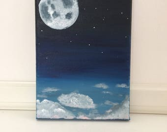 Moon - Original acrylic painting on canvas.