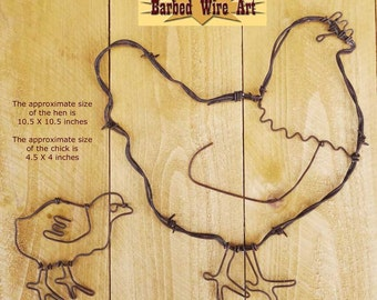 Hen and Chick - Handmade metal decor barbed wire art country western wall sculpture