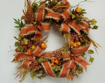 Fall wreath for front door, Thanksgiving wreath, Autumn wreath, Home and living, Home decor,