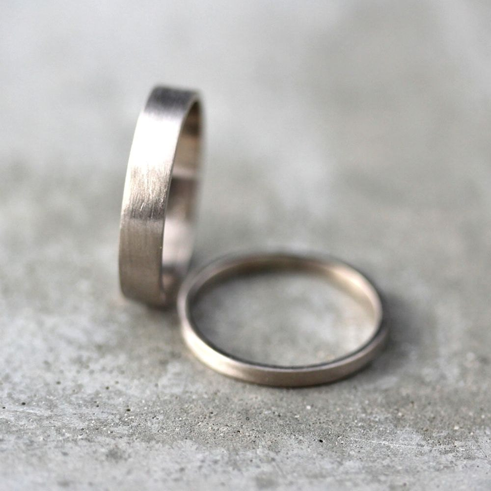 white gold wedding band set his and hers 4mm and 2mm brushed