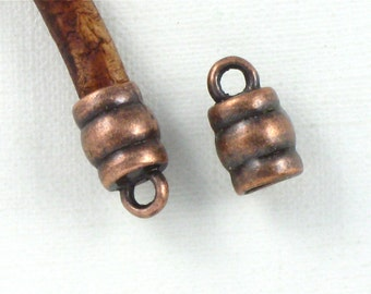 12 antique copper leather jewelry End Caps with loop . 4mm inside diameter (EC8ac)