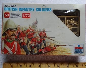Zulu War British Infantry Soldiers 1/72 scale 50 Soldier Figures ESCI Model Ertl #212 Military Miniatures c.1983 War Games South Africa