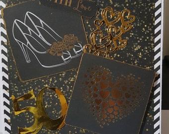 Large Handmade 50th Birthday Card - Birthday, Mum, Sister, Daughter, Wife, Friend etc