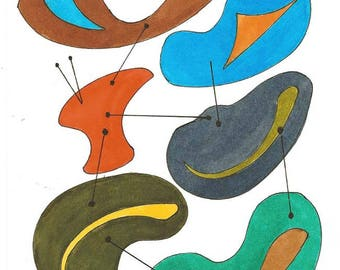 Original Handpainted Mid Century Atomic Modern Art in Watercolor - Amoeba - in Turquoise, Orange, Gray, Olive Green