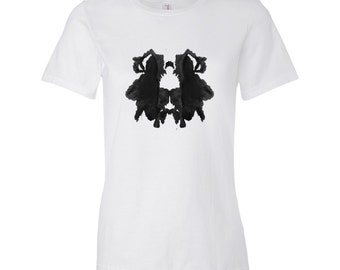 Ink Blot Artwork Rorschach Psychology Test T Shirt Women's Style 29