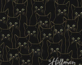 Cats Gold Black Metallic Hoffman Fabric