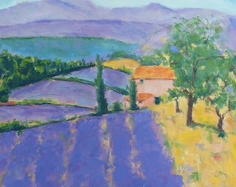 Original Oil Painting French Lavender Honeystreasures Wall Art Home Decor Purple Landscape California Plein Air Artist Valley Countryside