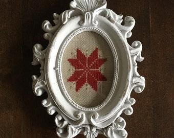 Cross Stitch LeMoyne Star in a Frame