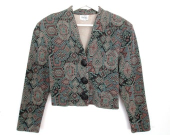 90's Patterned Cropped Coat size - M/L