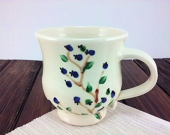 Ceramic coffee mug, tea cup, pottery mug with hand painted blueberries