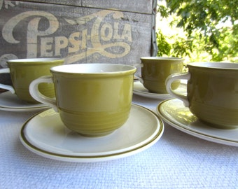 Vintage Mikasa Everfresh Avocado Green Cups and Saucers works with Strawberry Hill