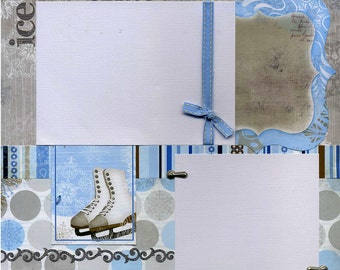 12x12 Premade Scrapbook Page - Ice Skate