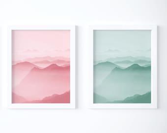 Set of 2 Printable Wall Art| Pink Green Abstract Art Digital Download| Boho Chic Bedroom Wall Art| Minimalist Posters| Modern Art Print Set