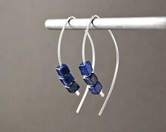 Lapis Lazuli Hoop Earrings, Sterling Silver and Blue Lapis Earrings, Blue Open Hoops, Lapis Lazuli Jewelry, Lapis Hoops, Cobalt Bue Earrings