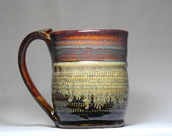 16oz mug,  pottery tea or coffee cup, hand thrown pottery mug