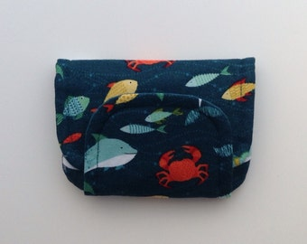 NEW sea creatures children's fabric wallet / purse . sharks, fish, crabs, dolphins, jellyfish etc with blue lining . kids coin purse .