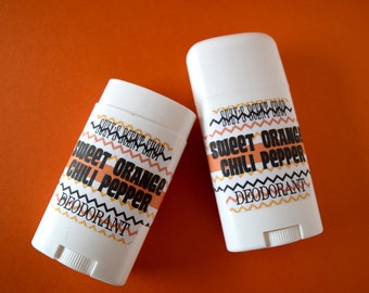Aluminum Free Deodorant - Sweet Orange Chili Pepper - Citrus - Odor fighting - Bath and Body - Personal Care