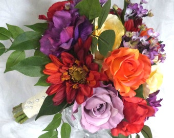 Colorful rose and anemone bridal bouquet set