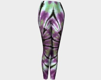 Tie Dye Leggings-Women's Leggings-Capri Leggings-Yoga Pants- Purple Green Black Leggings-xs, s, m, l, xl