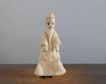 Small Ceramic Doll in a Nightgown - Vintage Dollhouse Doll