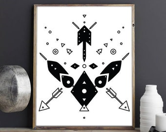 Tribal motif, Boho Print, Tribal Print, Southwest Print, Tribal Art, Aztec Print, printable art, digital print, geometric print, wall art