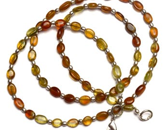 Natural Gemstone Multicolor Grossular Garnet Smooth 7x5MM Approx. Nugget Beads 23 Inch Full Strand Very Rare Gem Beads Finished Necklace
