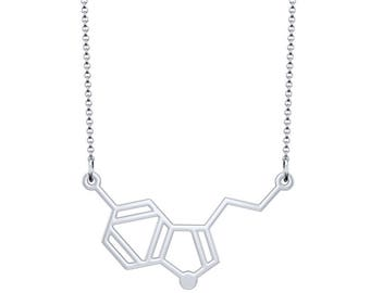 Small Serotonin Molecule Necklace - Silver