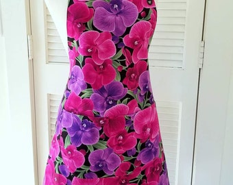 Womens Apron in Orchids Print