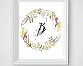 Custom Monogram, Monogram Letters, Name Art, Letter Art, Monogram Initials, Monogram Logo, Nursery Wall Art, Floral Wreath, Wedding Art