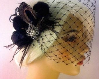 1920s Headpiece, Fascinator, Wedding Headpiece, Bridal Hair Clip, Black Bridal Headpiece, Gatsby Headpiece, Wedding Hair Clip, Wedding Veil