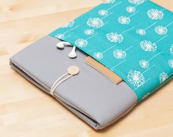 Macbook air 13 case  / Macbook pro 13 case / Macbook air 13 cover /  Laptop sleeve / padded with pockets  - blue dandelion in grey -