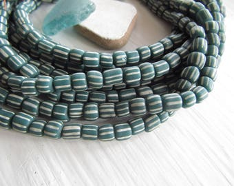 teal white striped glass seed beads,  green small matte opaque ethnic spacer barrel tube, New Indo-pacific  3 to 6mm / 10 in strd, 7ab22-6