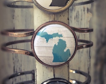 Michigan Bracelet, Made in Michigan, Michigan Jewelry, Jewelry, State of Michigan, Bracelet, Michigan State, Mitten Jewelry, Michigan Gift