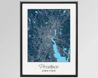 Providence Rhode Island Map, Providence City Print, Providence Poster, Providence Wall Art gift, Brown University, Providence College