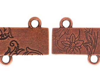 Floral Rectangle, COPPER Connector, 30x18x1mm, by Nunn Designs. NDFRCC